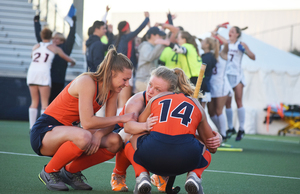 Connecticut upset No. 3 seed Syracuse in the NCAA tournament Sunday. The Orange failed to defend its national title.