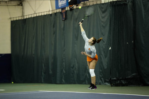 Anna Shkudun pushed herself in her singles matchup but couldn't finish it off with a victory.