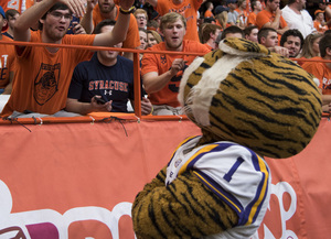 Ben Castaneda, a former Syracuse student, taunts LSU's mascot when the two teams played one another in the Carrier Dome in 2015.